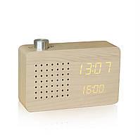 "Смарт-будильник + FM-радио ""ASH RADIO"", дерево клен"