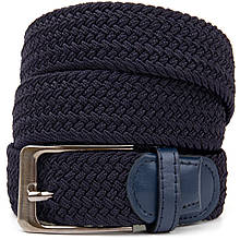 Текстильный мужской ремень классика Vintage 20526 Темно-синий