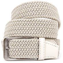 Текстильный мужской ремень классика Vintage 20528 Белый