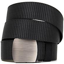 Текстильный ремень с серебристой пряжкой Vintage 20541 Черный