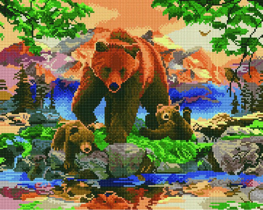 GJ679 Набір алмазної мозаїки на підрамнику Сім'я ведмедів