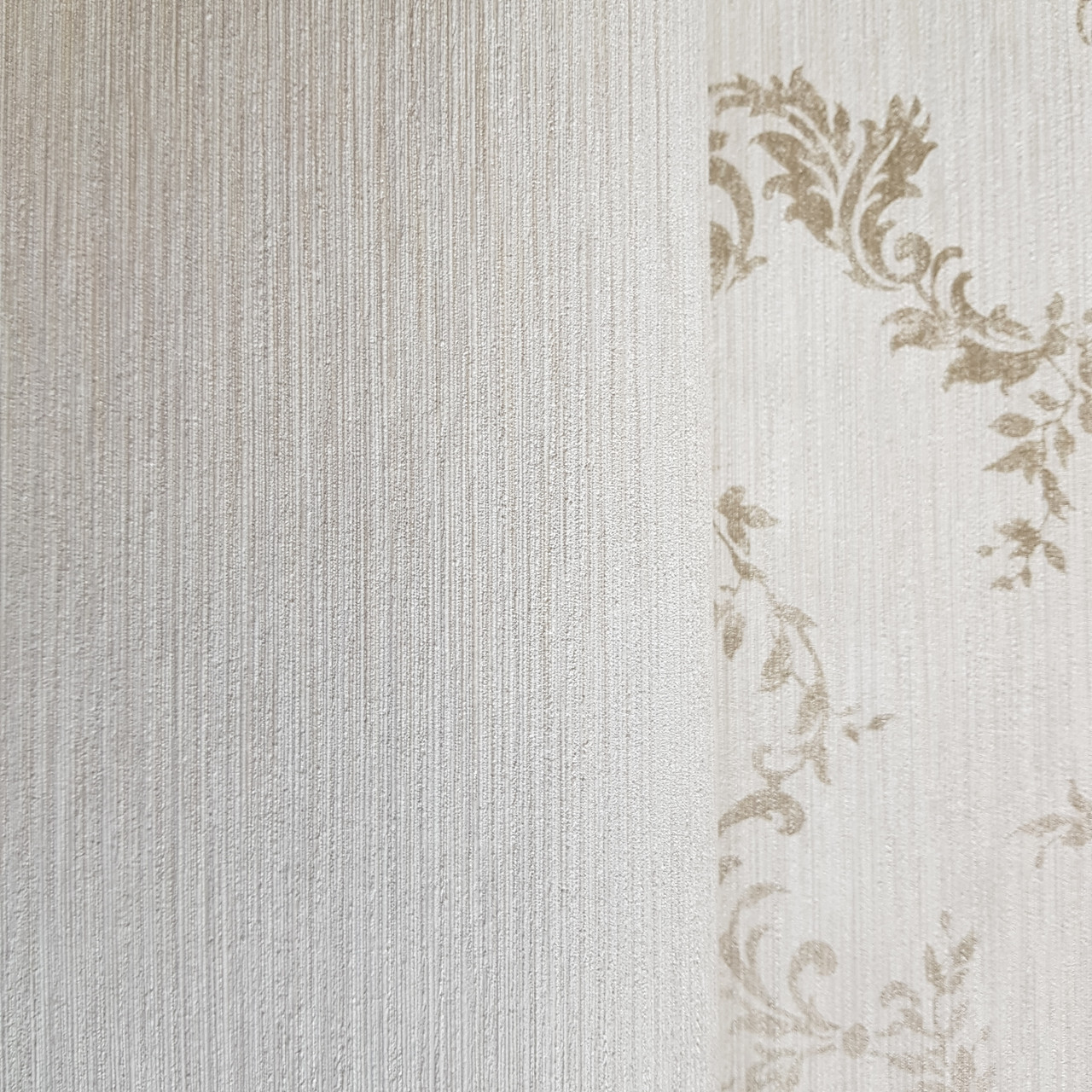 Обои виниловые на флизелине Rasch Victoria метровые однотонные тонкая полоска под ткань молочные серебристые