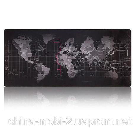Коврик игровой для мыши. 40x90см, карта мира, фото 2