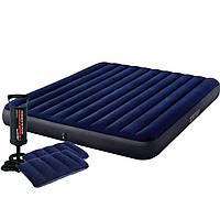 Матрац Intex надувний двомісний велюровий, ліжко з подушками і насосом 152х203х25 см (64765)