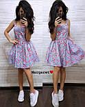 Літнє плаття сорочка з розкльошеною спідницею без рукавів в квітковий принт з бавовни (р. 42, 44) 9032696, фото 3