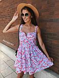 Літнє плаття сорочка з розкльошеною спідницею без рукавів в квітковий принт з бавовни (р. 42, 44) 9032696, фото 4