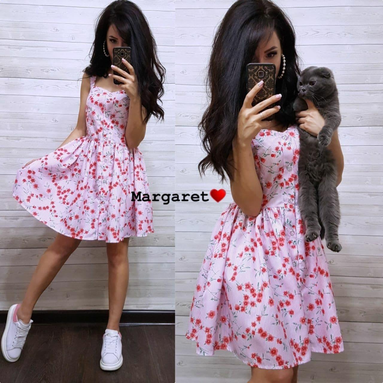 Літнє плаття сорочка з розкльошеною спідницею без рукавів в квітковий принт з бавовни (р. 42, 44) 9032696