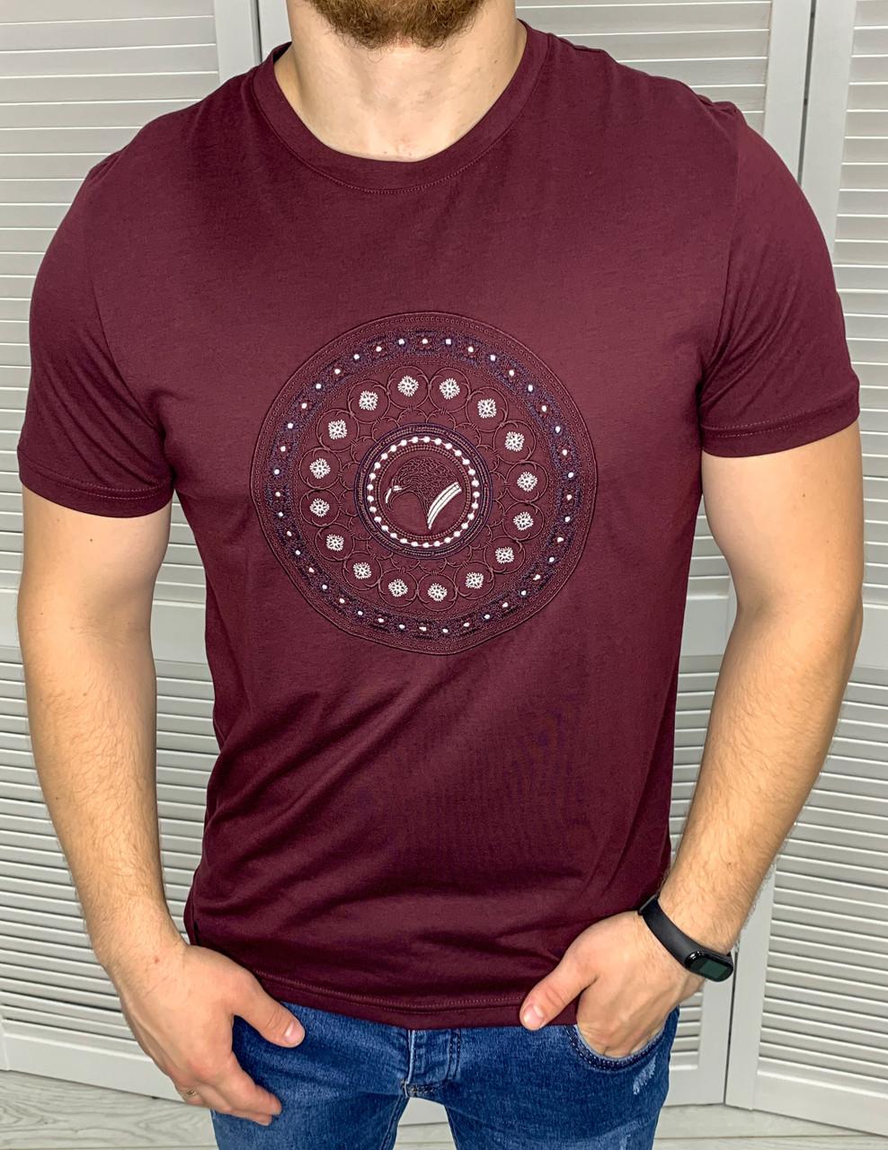 Мужская футболка брендовая Stefano Ricci Бордовая, стильная футболка Идеальная посадка с круглым вырезом