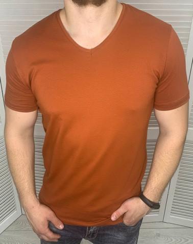 Мужская футболка брендовая Dynamo Терракотовая с v-образным вырезом