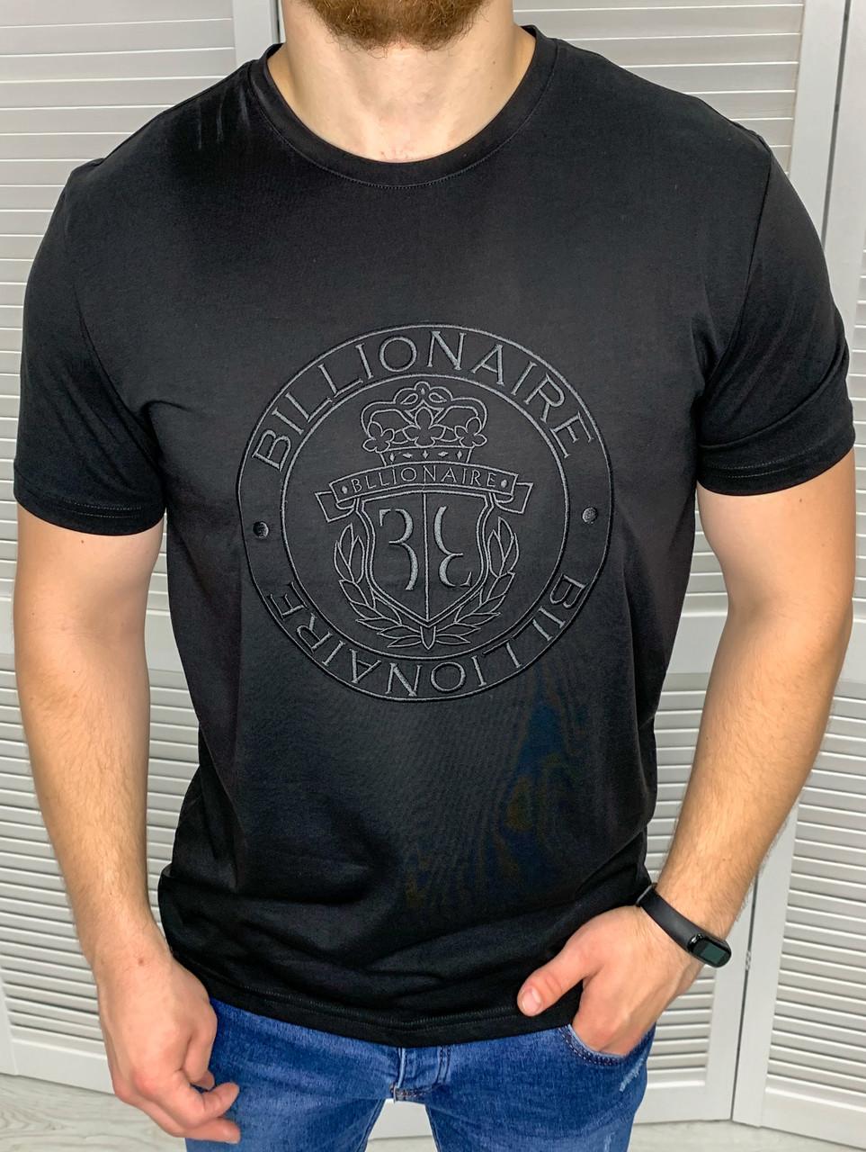 Мужская футболка брендовая Billionaire Черная однотонная с рисунком, Идеальная посадка приталенная