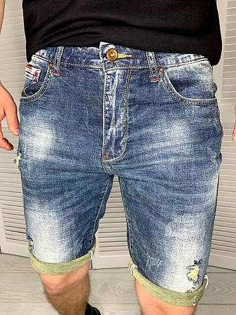 Шорти чоловічі джинсові Today світло-сині, стильні Чоловічі джинсові шорти на підкатах, фото 2