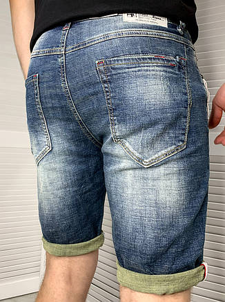 Шорты джинсовые мужские Today светло-синие, Мужские стильные джинсовые шорты на подкатах, фото 2