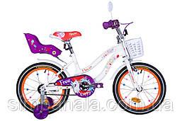 """Велосипед детский 16"""" Formula FLOWER PREMIUM 2021 (бело-оранжевый c фиолетов)"""