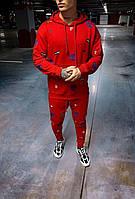 Мужской спортивный костюм однотонный с надписями (красный) s9070r стильная одежда
