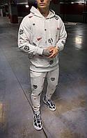 Мужской спортивный костюм однотонный с надписями (светло-серый) s9070g стильная одежда