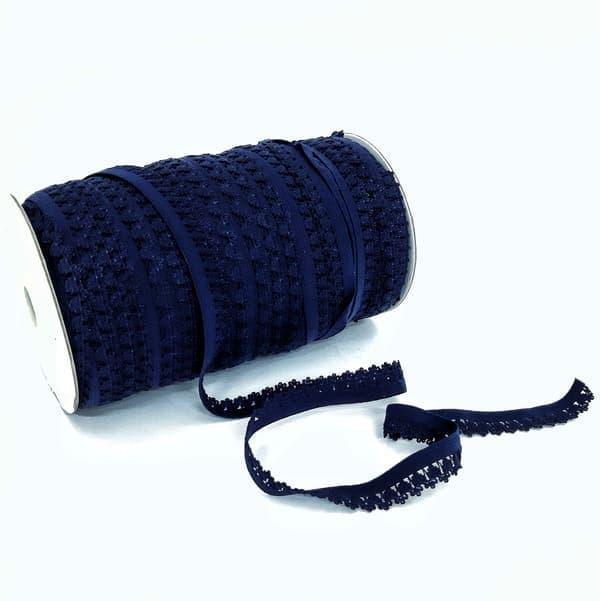 Гумка ажурна білизняна темно-синя, 14 мм