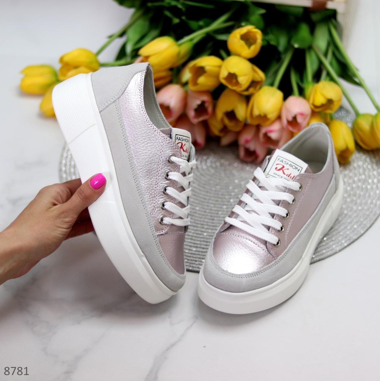 Женские стильные кроссовки розовые / пудра с серым натуральная  кожа + замша