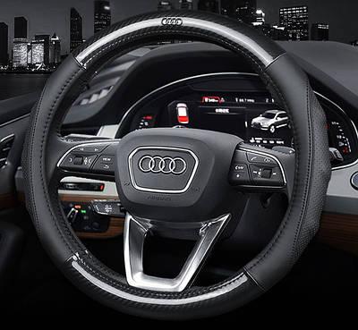 Чехол оплетка на руль Cool carbon с логотипом натуральной кожи и карбоном для автомобиля