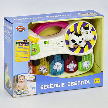 Розвиваюче піаніно веселі звірята Дитяче іграшкове піаніно зі звуками тварин Іграшка англійською