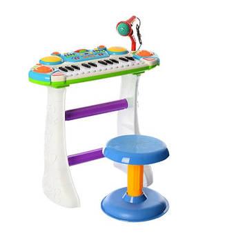 Дитяче піаніно-орган зі стільчиком і мікрофоном колір синій Іграшкове піаніно на ніжках Музична іграшка
