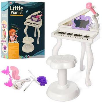 Багатофункціональний дитячий синтезатор піаніно на ніжках Іграшка синтезатор з стільчиком і караоке мікрофоном