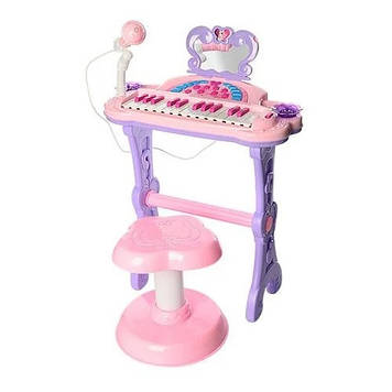 Дитяче піаніно на ніжках зі стільчиком Синтезатор дитячий працює від мережі і батарей у комплекті мікрофон