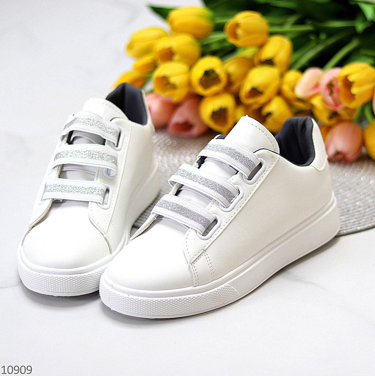 Кеди / кросівки жіночі білі з сірими на липучці еко шкіра