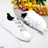 Кеди / кросівки жіночі білі з сірими на липучці еко шкіра, фото 2