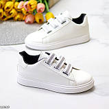 Кеди / кросівки жіночі білі з сірими на липучці еко шкіра, фото 3