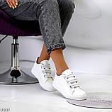 Кеди / кросівки жіночі білі з сірими на липучці еко шкіра, фото 4