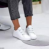 Кеди / кросівки жіночі білі з сірими на липучці еко шкіра, фото 5