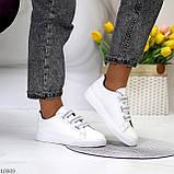 Кеди / кросівки жіночі білі з сірими на липучці еко шкіра, фото 6
