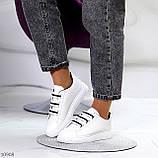 Кеди / кросівки жіночі білі з сірими на липучці еко шкіра, фото 9
