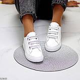 Кеди / кросівки жіночі білі з сірими на липучці еко шкіра, фото 7