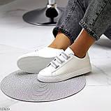 Кеди / кросівки жіночі білі з сірими на липучці еко шкіра, фото 8