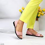 Босоножки - балетки открытые женские розовые/ пудра натуральная кожа, фото 2