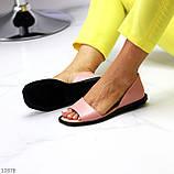 Босоножки - балетки открытые женские розовые/ пудра натуральная кожа, фото 3