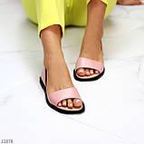 Босоножки - балетки открытые женские розовые/ пудра натуральная кожа, фото 4