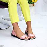 Босоножки - балетки открытые женские розовые/ пудра натуральная кожа, фото 5