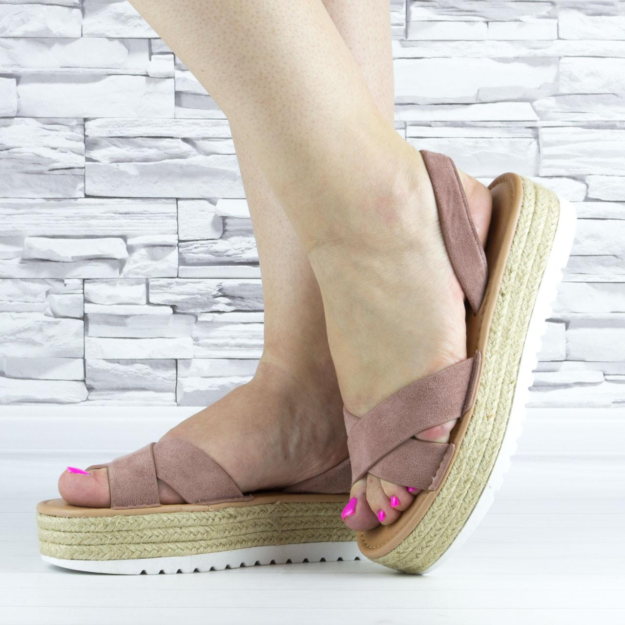 Босоніжки жіночі пудрові еко замша з відкритою п'ятою і відкритим носком (b-508)