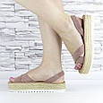 Босоніжки жіночі пудрові еко замша з відкритою п'ятою і відкритим носком (b-508), фото 5