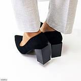 Оригінальні жіночі чорні туфлі на підборах 8,5 см еко - замша, фото 5