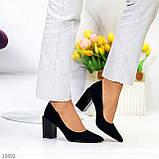 Оригінальні жіночі чорні туфлі на підборах 8,5 см еко - замша, фото 6