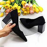 Оригінальні жіночі чорні туфлі на підборах 8,5 см еко - замша, фото 8