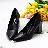 Оригинальные туфли женские черные эко кожа на каблуке 8,5 см, фото 3