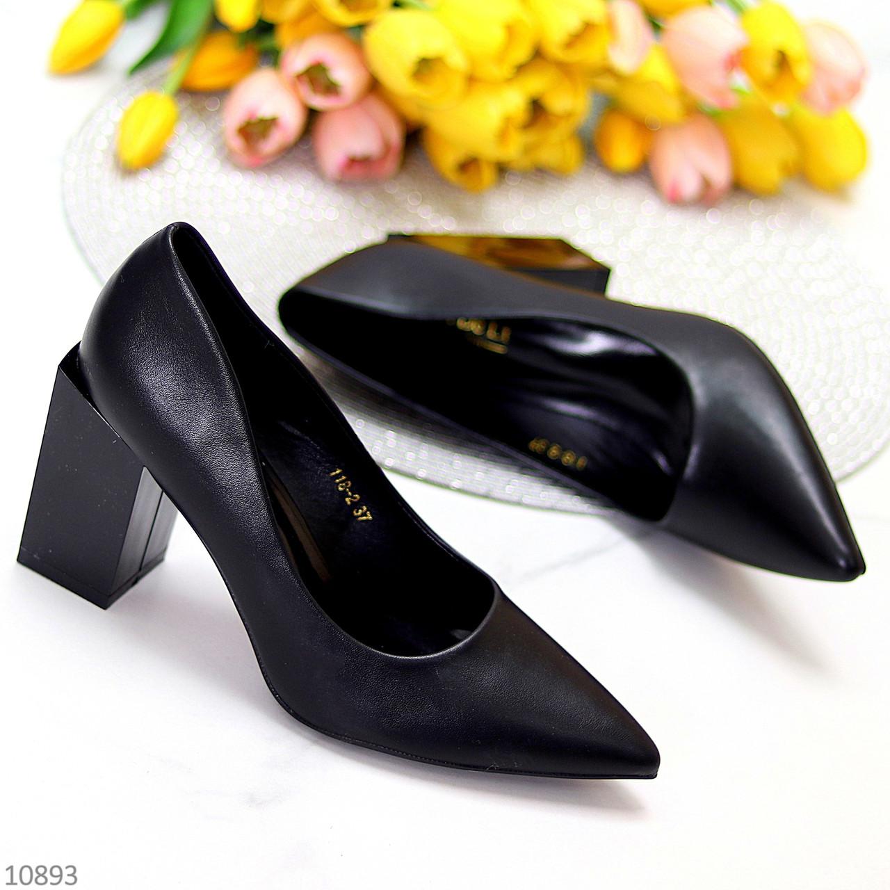Оригинальные туфли женские черные эко кожа на каблуке 8,5 см