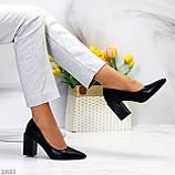 Оригинальные туфли женские черные эко кожа на каблуке 8,5 см, фото 4