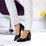 Оригинальные туфли женские черные эко кожа на каблуке 8,5 см, фото 5