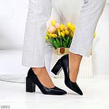 Оригинальные туфли женские черные эко кожа на каблуке 8,5 см, фото 6