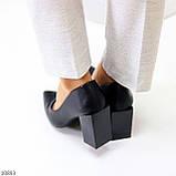 Оригинальные туфли женские черные эко кожа на каблуке 8,5 см, фото 7